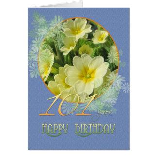 Cartão 101st Prímulas e azul do aniversário