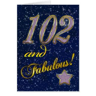 Cartão 102nd aniversário para alguém fabuloso