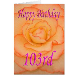 Cartão 103rd flor feliz do aniversário