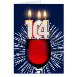 Cartão 104th Aniversário com vinho e velas