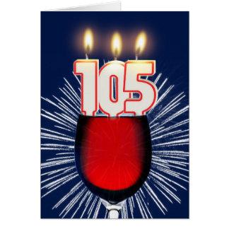 Cartão 105th Aniversário com vinho e velas