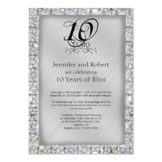 Cartão 10o Aniversário da lata e de casamento do diamante