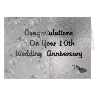 Cartão 10o Aniversário de casamento