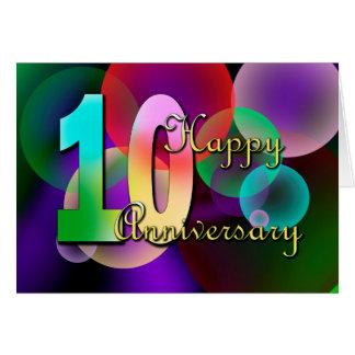 Cartão 10o aniversário feliz (aniversário de casamento)