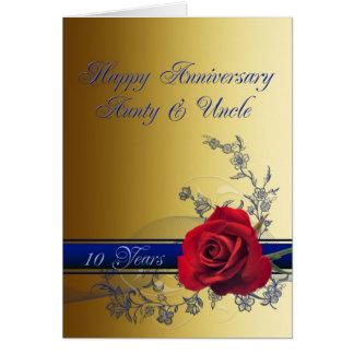Cartão 10o Cartão, tia & tio do aniversário