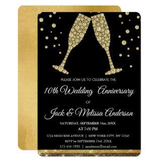 Cartão 10o Vidros de Champagne da festa de aniversário do
