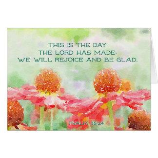 Cartão 118:24 do salmo este é o dia onde o senhor fez