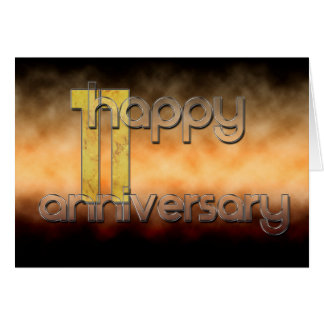 Cartão 11o aniversário feliz (aniversário de casamento)
