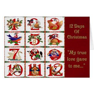Cartão 12 dias de presentes do impressão da edredão do