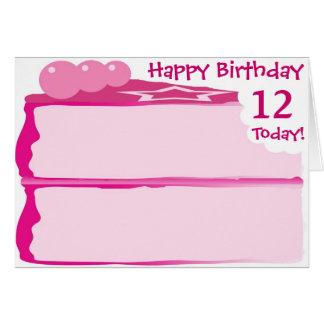 Cartão 12o aniversário feliz