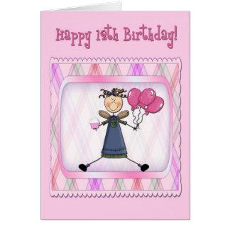 Cartão 12o Anjo cor-de-rosa do aniversário