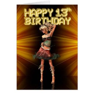 Cartão 13o adolescente feliz do aniversário