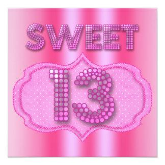 Cartão 13o Bolinhas cor-de-rosa da festa de aniversário