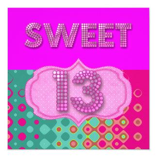 Cartão 13o Cerceta cor-de-rosa da festa de aniversário do