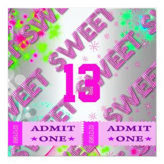 Cartão 13o Divertimento dos bilhetes da festa de