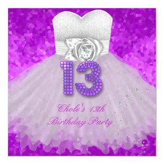 Cartão 13o Roxo adolescente das meninas de festa de
