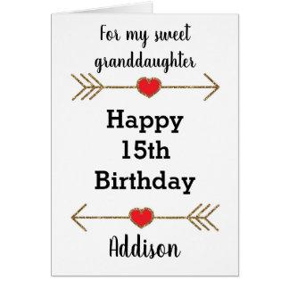 Cartão 15a neta feliz do aniversário