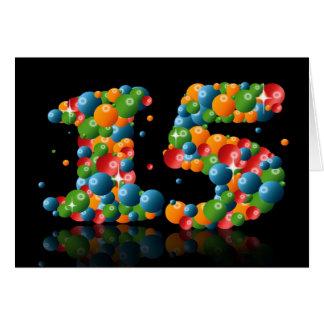 Cartão 15o aniversário com os números formados das bolas