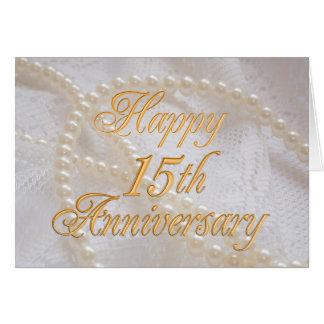 Cartão 15o aniversário de casamento com laço e pérolas
