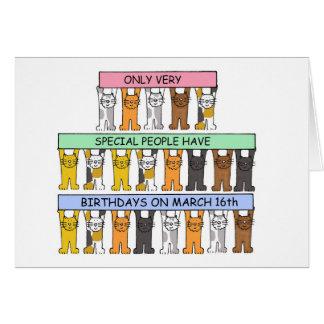 Cartão 16 de março aniversários comemorados por gatos