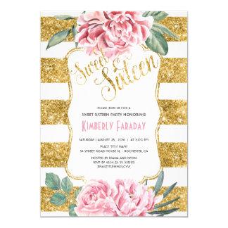 Cartão 16 festa de aniversário - brilho doce do ouro