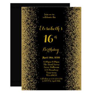 Cartão 16o, aniversário 16o, brilho, ouro preto