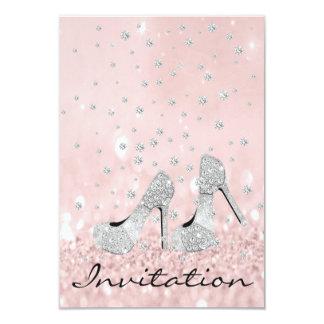 Cartão 16o nupcial do brilho dos calçados do diamante do