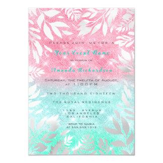 Cartão 16o Sparkly floral de Ombre do brilho cor-de-rosa