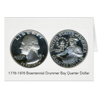 Cartão 1776-1976 dólar de um quarto do menino