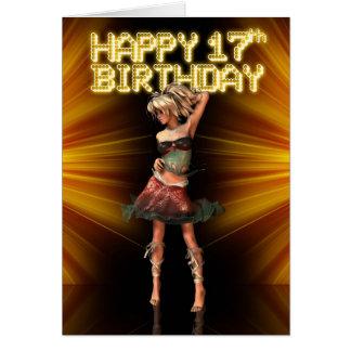 Cartão 17a estrela feliz do adolescente do aniversário no