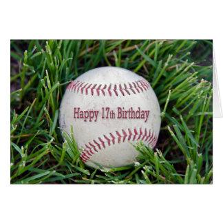 Cartão 17o Aniversário com basebol