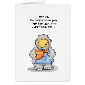 Cartão 17o Aniversário com hipopótamo do cozimento -