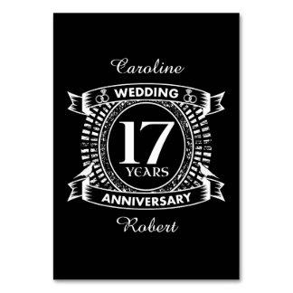 Cartão 17o aniversário de casamento preto e branco