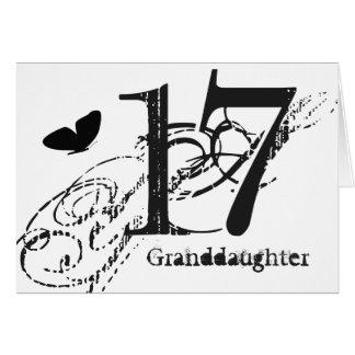 Cartão 17o aniversário para uma neta, borboleta