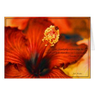 Cartão 18:24 do ardor Hibiscus~Friendship/Proverbs