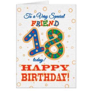 Cartão 18o aniversário colorido para o amigo especial