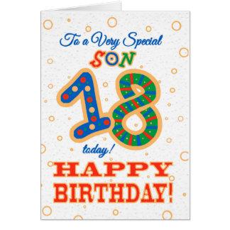 Cartão 18o aniversário colorido para o filho especial