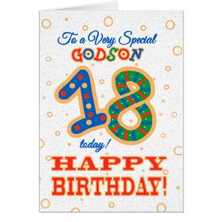 Cartão 18o aniversário colorido para o Godson especial