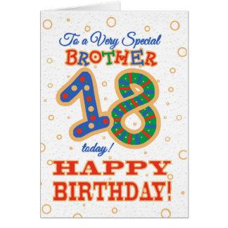Cartão 18o aniversário colorido para o irmão especial
