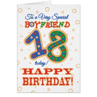 Cartão 18o aniversário colorido para o namorado especial