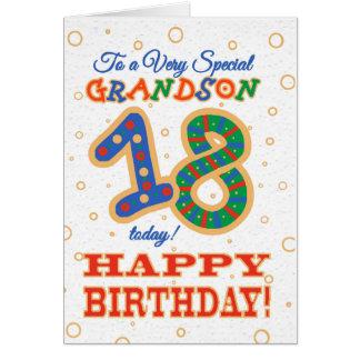 Cartão 18o aniversário colorido para o neto especial