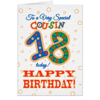Cartão 18o aniversário colorido para o primo especial