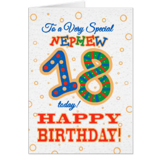 Cartão 18o aniversário colorido para o sobrinho especial