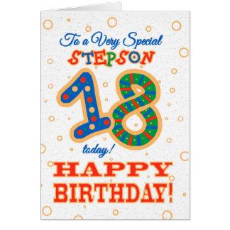 Cartão 18o aniversário colorido para o Stepson especial