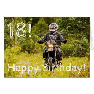 Cartão 18o aniversário para um menino com sua foto
