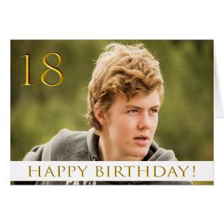 Cartão 18o aniversário para um menino com sua foto do