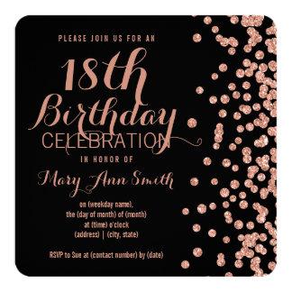 Cartão 18o Confetes cor-de-rosa Blac do brilho do falso