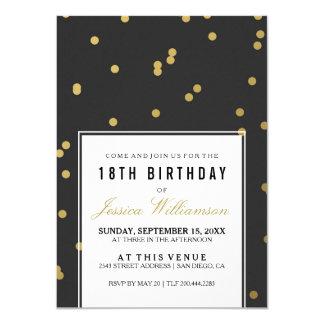 Cartão 18o Polca na moda do ouro da festa de aniversário