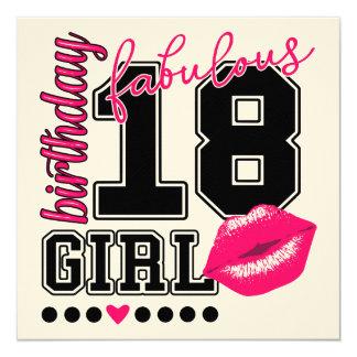 Cartão 18th birthday girl Einladungs cartões, pink Kiss