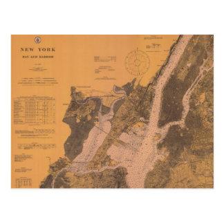 Cartão 1914 náutico da carta do porto superior de